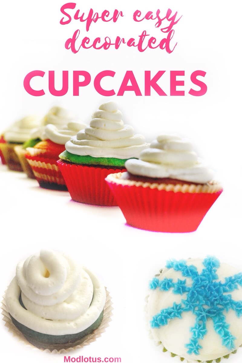 Super Easy Decorated Cupcakes Birthday With Petal Tip And Star Creative Cake Within